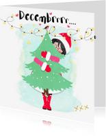 Kerstkaarten - Kerstkaart decembrrr met kerstboom