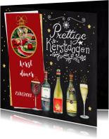 Menukaarten - Kerstkaart diner wijn