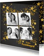 Kerstkaart feestelijke fotokaart gouden sterren