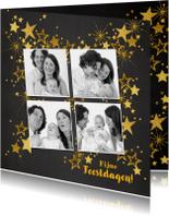 Kerstkaarten - Kerstkaart feestelijke fotokaart gouden sterren