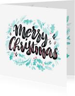 Kerstkaarten - Kerstkaart feestelijke handlettering