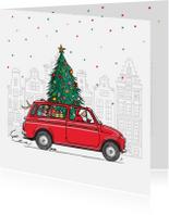 Nieuwjaarskaarten - Kerstkaart fiat 500 giardienara