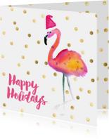 Kerstkaarten - Kerstkaart flamingo met kerstmuts happy holidays