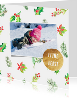 Kerstkaart foto en hulstblaadjes