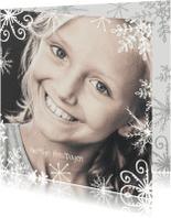 Kerstkaarten - Kerstkaart foto groot met kader van kristallen