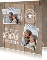 Kerstkaarten - Kerstkaart foto hout stempel