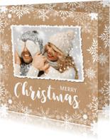 Kerstkaarten - Kerstkaart foto kraft sneeuwvlokken