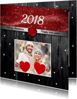 Kerstkaarten - Kerstkaart foto op hout 2018