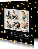 Kerstkaarten - Kerstkaart fotocollage sterren goud krijtbord