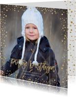 Kerstkaarten - Kerstkaart goud glitter confetti
