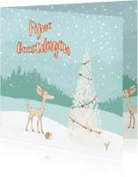 Kerstkaarten - Kerstkaart hertje in de sneeuw met kerstboom