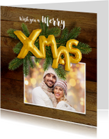 Kerstkaarten - Kerstkaart hout en ballonnen goud XMAS 2018