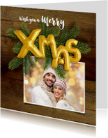Kerstkaarten - Kerstkaart hout en ballonnen goud XMAS 2019