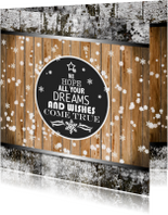 Zakelijke kerstkaarten - Kerstkaart hout en wens