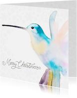 Kerstkaarten - Kerstkaart hummingbird met winterse sneeuw vlokken