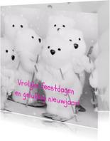 Kerstkaarten - Kerstkaart ijsbeertjes op de latten