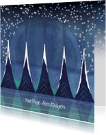 Kerstkaarten - Kerstkaart illustratie kerstbomen+sterren-IP