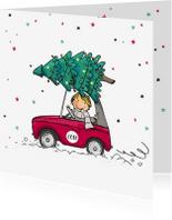 Kerstkaarten - Kerstkaart jongen met kerstboom av