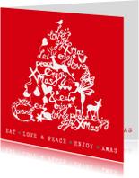 Kerstkaarten - Kerstkaart  - Kerstboom illustraties met tekst (rood/wit)