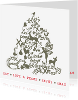 Kerstkaarten - Kerstkaart  - Kerstboom illustraties met  tekst (wit/groen)