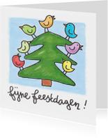 Kerstkaarten - Kerstkaart kerstboom met vogels