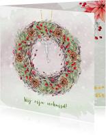 Kerstkaarten - Kerstkaart kerstkrans met sleutel en kerstgroen