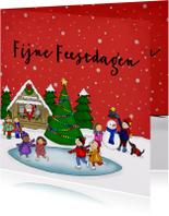 Kerstkaarten - Kerstkaart kerstmis kerst schaatsen