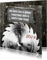 Zakelijke kerstkaarten - Kerstkaart klok en krijtbord RB
