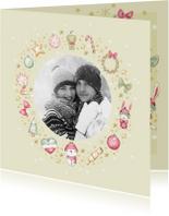 Kerstkaarten - Kerstkaart krans van kerstversiering + foto
