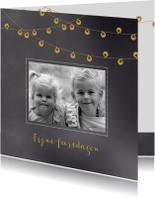 Kerstkaarten - Kerstkaart krijtbord lampjes - BC