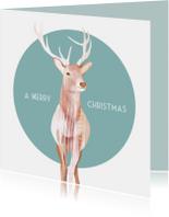 Kerstkaart met een geïllustreerd rendier