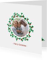 Kerstkaarten - Kerstkaart met eigen foto in mistletoe krans