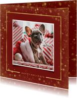 Kerstkaart met foto en goudlook kader
