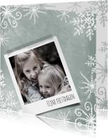 Kerstkaart met foto en ijskristallen