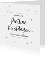 Kerstkaarten - Kerstkaart met gouden sterretjes en handlettering tekst