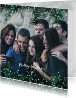Kerstkaarten - Kerstkaart met grote foto en dennetakjes met lichtjes