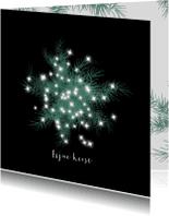 Kerstkaarten - Kerstkaart met grote witte ster met dennetakjes