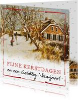 Kerstkaart met Hollandse boerderij en spelende kinderen