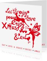 Kerstkaarten - Kerstkaart met kerstillustraties en teksten (wit/rood)