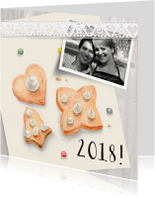 Nieuwjaarskaarten - Kerstkaart met kerstkoekjes en foto