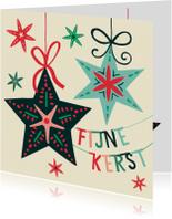 Kerstkaarten - Kerstkaart met kerststerren en een letterslinger