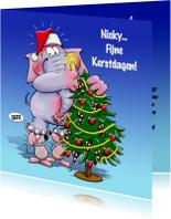 Kerstkaarten - Kerstkaart met olifant en muizen - HE