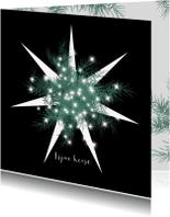 Kerstkaarten - Kerstkaart met ster en dennetakjes