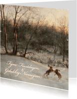 Kerstkaarten - Kerstkaart met wintertafereel 'Hazen in het bos'