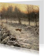 Kerstkaarten - Kerstkaart met wintertafereel rennende vos in sneeuw