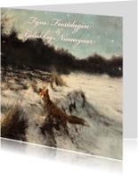Kerstkaarten - Kerstkaart met wintertafereel 'Vos in open bos'