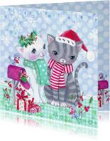 Kerstkaarten - Kerstkaart Poezen kerst winter