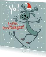 Kerstkaarten - Kerstkaart: Rendier zegt YO!