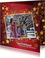 Kerstkaarten - Kerstkaart rode feestelijk fotokaart gouden sterren
