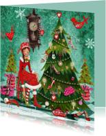 Kerstkaarten - Kerstkaart Santa Schoenen Boom